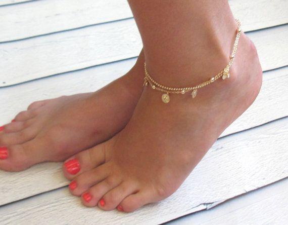 Delicate Gold Coin Anklet Multistrand Ankle Bracelet