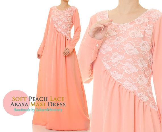 0767d85a7c3a Long Peach Dress   Peach Maxi Dress   Long Sleeve Dress   Abaya Maxi ...