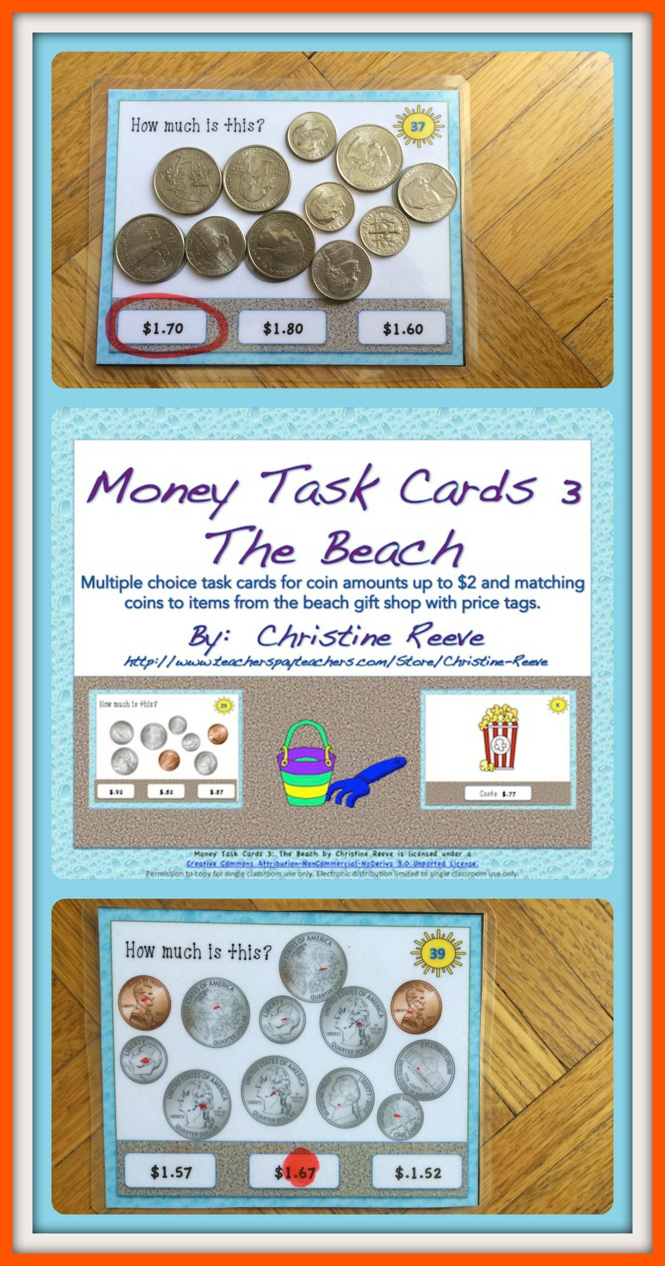 Money Task Cards 3 The Beach Coins To 2 With Distance