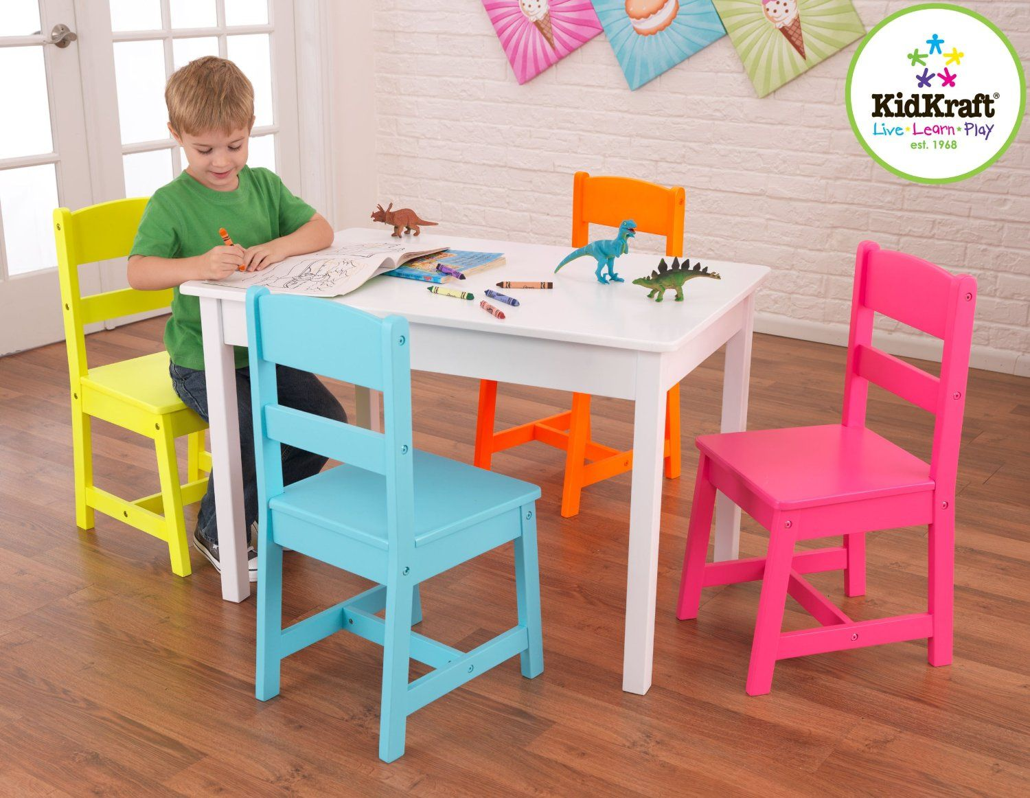 Amazon Com Kidkraft Highlighter Table And 4 Chair Set Toys Games Kids Table And Chairs