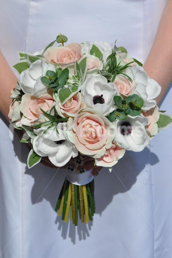 Vintage Inspired Peach Artificial Fresh Touch Rose And White Anemone Bridal Bouquet Vintage Inspire Bridal Bouquet Peach Wedding Flowers Anemone Bridal Bouquet