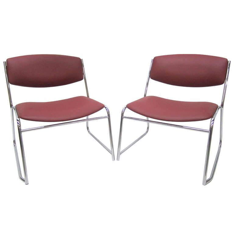 French Mid-Century Slipper Chairs, Pair   1stdibs.com #french #furniture #design #redleather #slipperchair