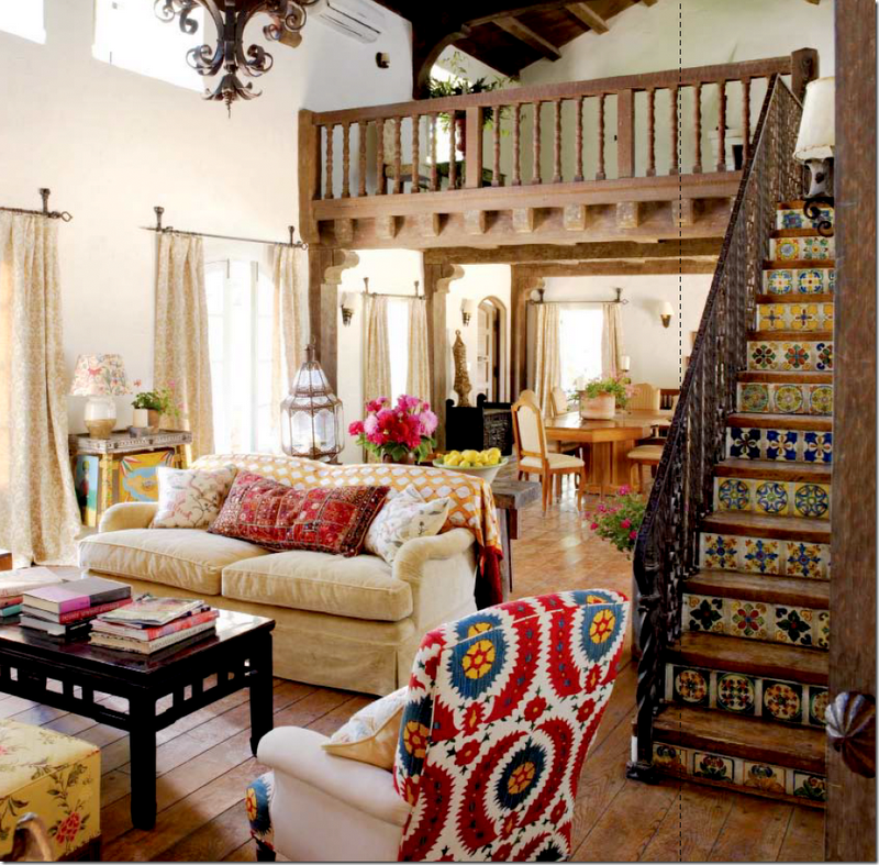 Another View Of The Antique Painted Table In Kathryn Irelands Ojai Ranch Living Room