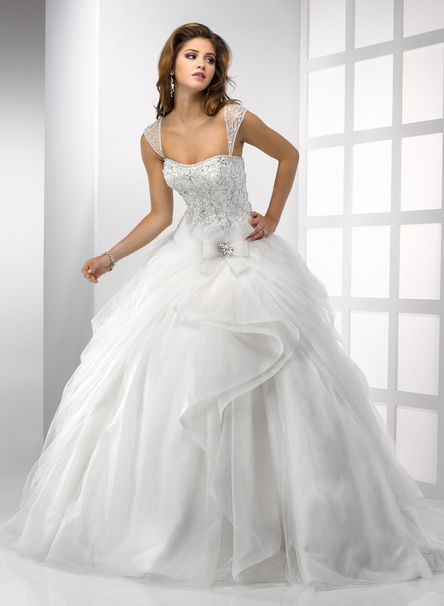 ball gown wedding dress designed with embroidered cap sleeves ...