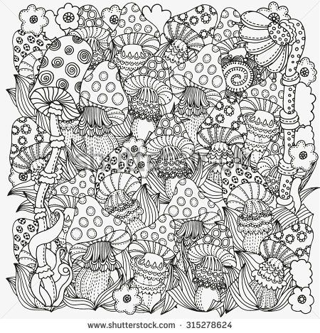 Pattern for coloring book in vector. Fantasy fairy mushrooms in ...