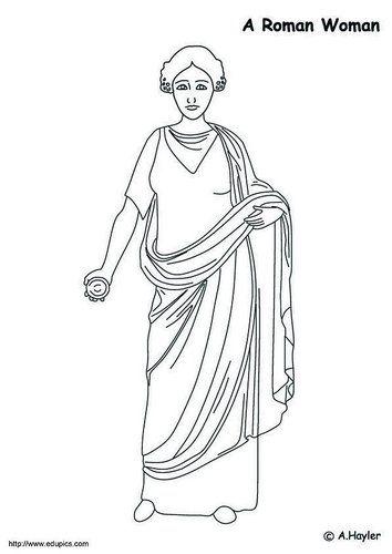 Dibujo para colorear Mujer romana | Roma | Pinterest