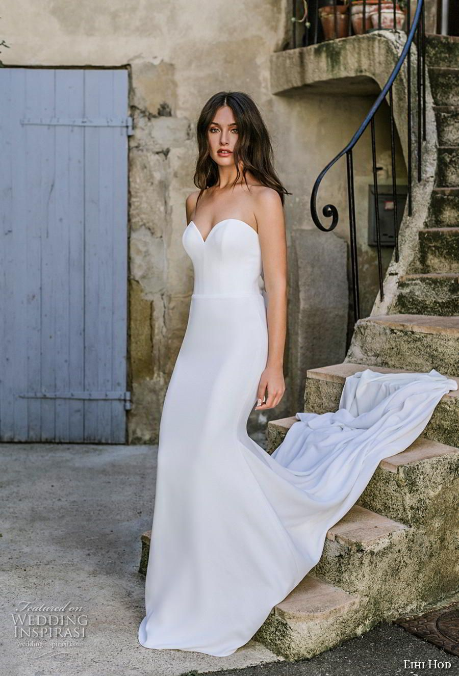 7fe4cb609557 lihi hod 2019 bridal strapless sweetheart neckline simple minimalist  elegant classic fit and flare wedding dress backless ribbon back chapel  train (3) mv .