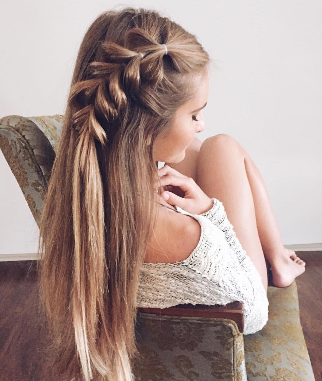 Mujer Con Media Trenza De Lado Peinados Poco Cabello Trenzas Para Cabello Largo Peinados Con Trenzas