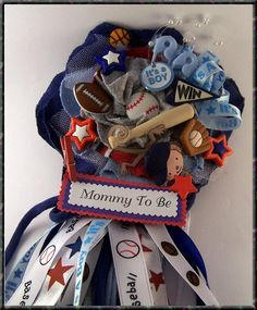 Sports Theme Baby Shower Corsage All Sports All By BloomingParty, $26.00