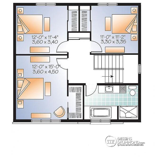 W3714   Plan De Maison à étage Moderne Et Abordable, 3 Chambres, Grand  Salon, Foyer Double Au Gaz, Buanderie R D C
