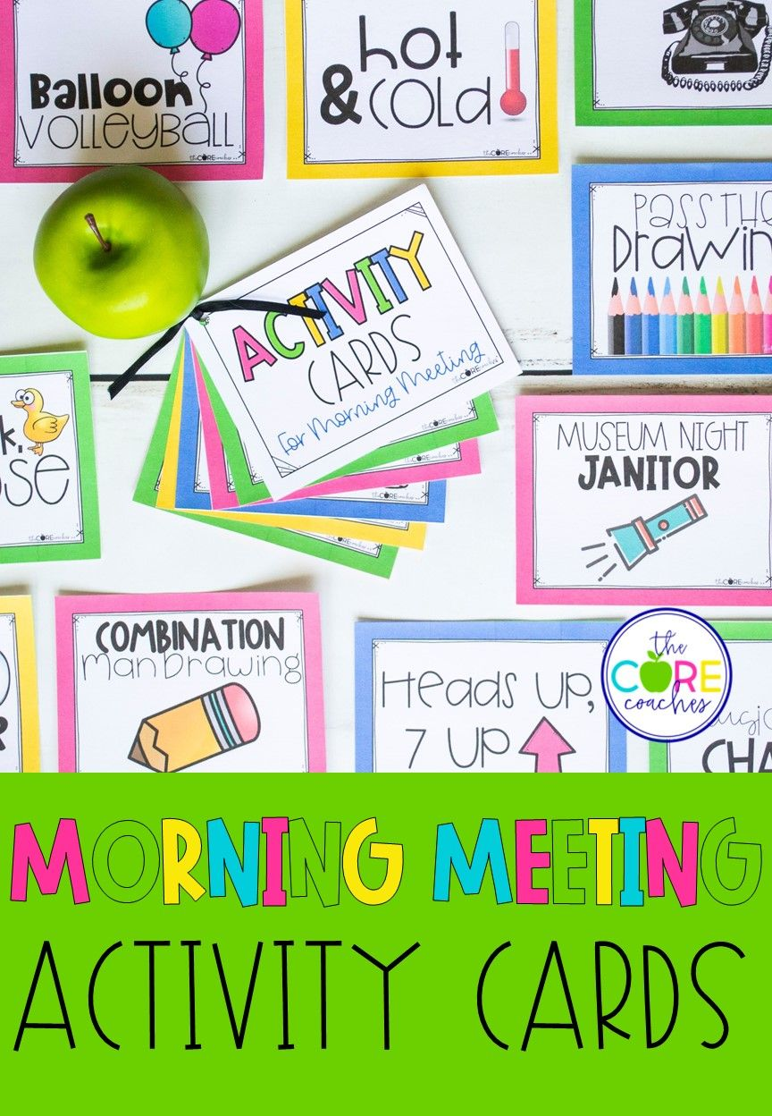 Morning Meeting Activity Cards Editable Activity cards