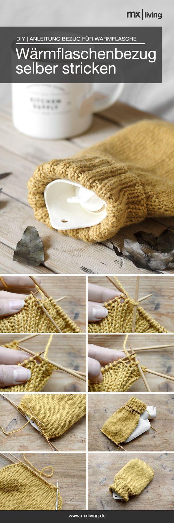 DIY | Wärmflaschenbezug stricken - mxliving #tejidos Einen einfachen und schön...