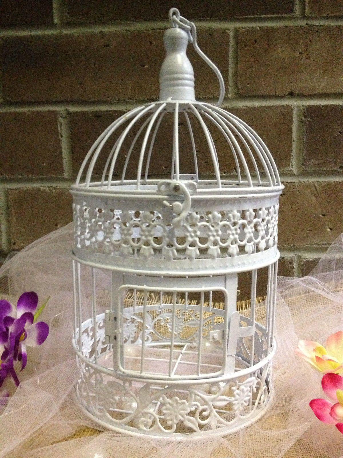 17x9 white metal birdcage wedding gift card holder