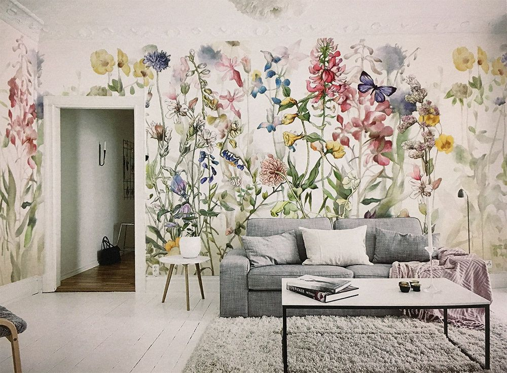 Purple and Pink Dark Floral Wall Mural Sala floral