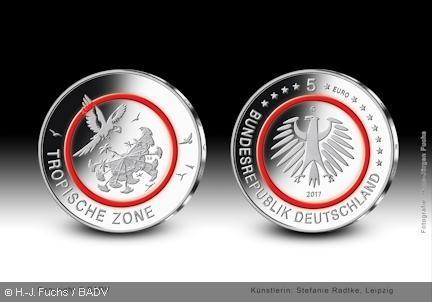 Die Bundesregierung Lasst Eine 5 Euro Sammlermunze Tropische Zone Mit Einem Roten Kunststoffring Pragen Die Am 27 April 2017 Ausgegeben Wird Die Mun Monedas