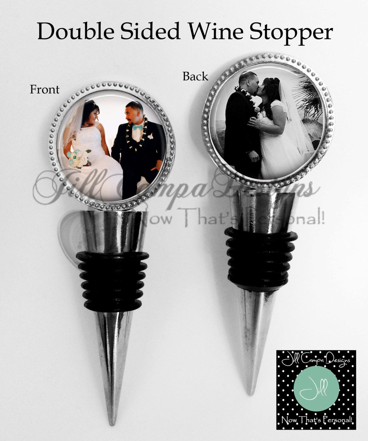 Wedding photo Wine stopper, PHOTO WINE STOPPER - 2 sided Custom ...