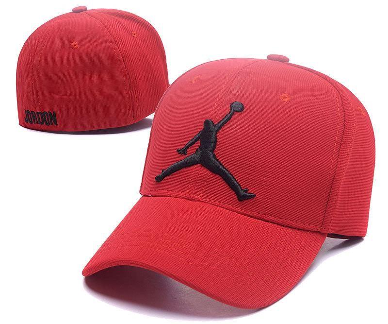 Mens Womens Nike Air Jordan The Jumpman Embroidery Logo Flexfit Hat Red Black Jordan Hats Air Jordans Fitted Baseball Caps