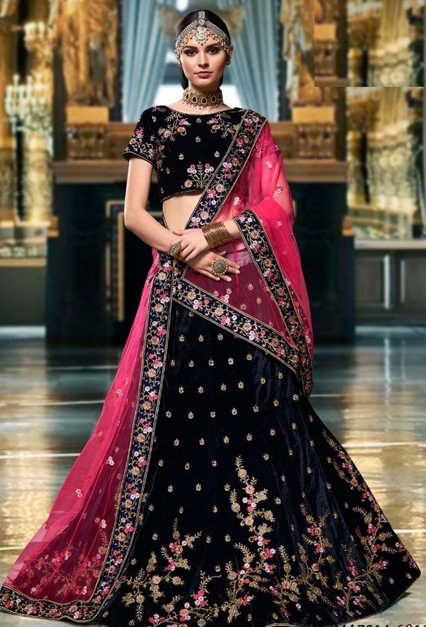 Black designer velvet party wear lehenga choli