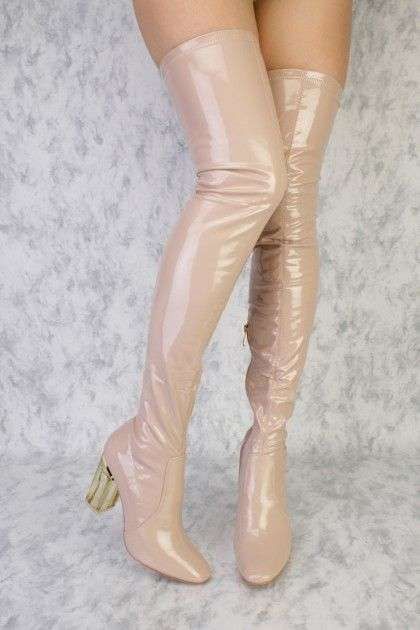 a3bfddb59249f Dark Nude Rounded Pointy Toe Clear Chunky Heel Thigh High Boots Patent