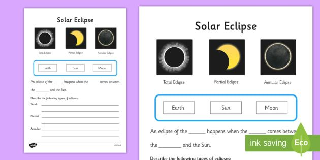 Solar Eclipse Worksheet Worksheets Worksheet Work Sheet Sheets