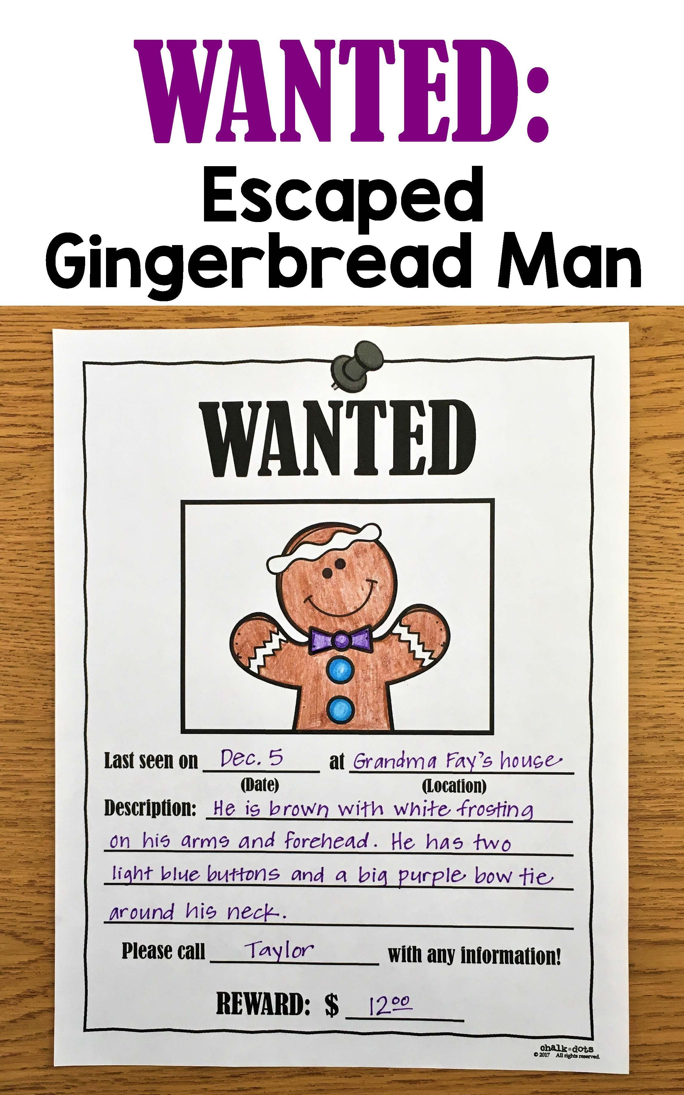 Gingerbread Man Writing Prompts