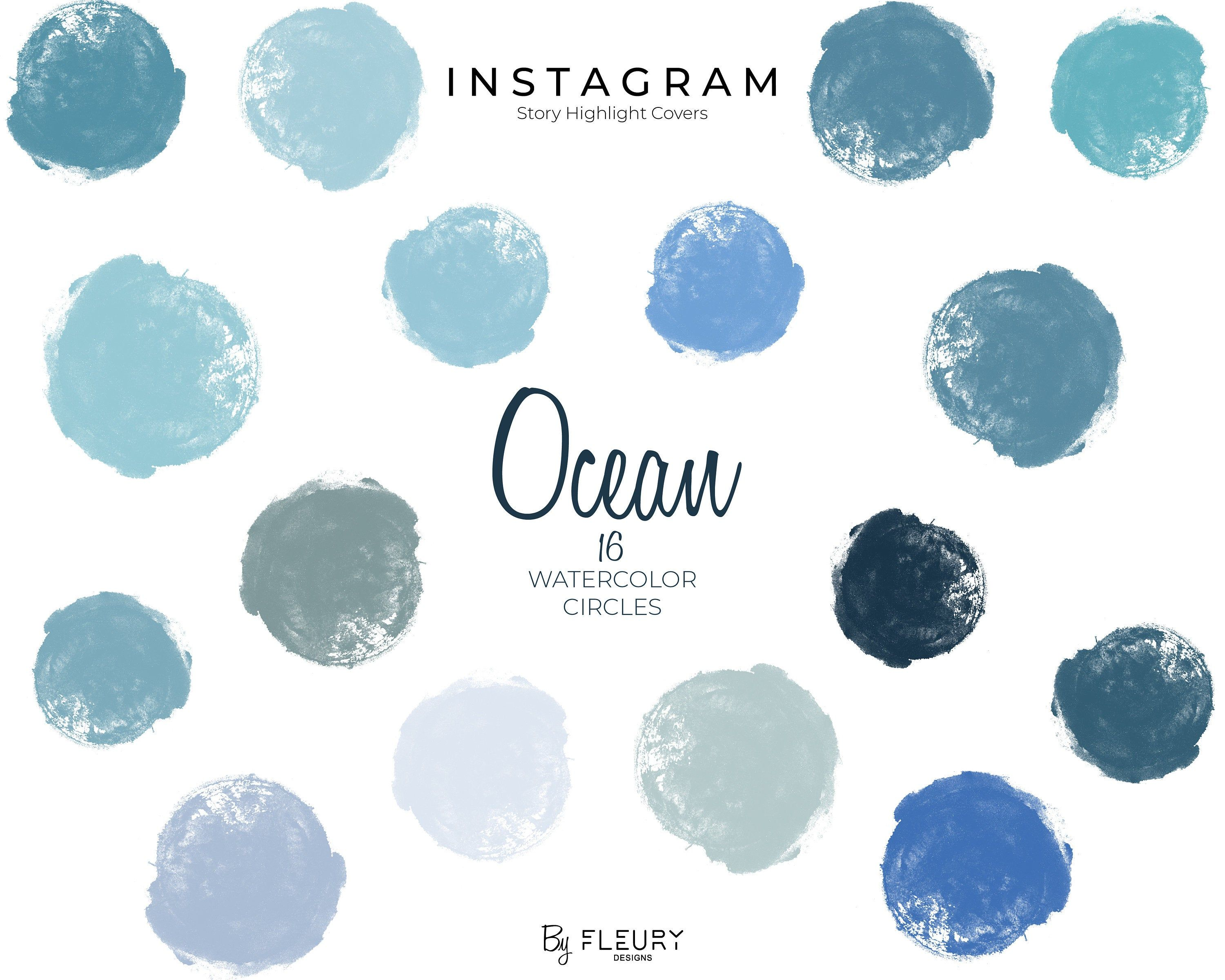 Ocean Blues Watercolor Instagram Story Highlight Icons Pastel