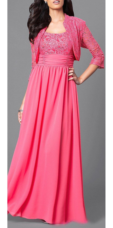 Chiffon Long Evening Dress Royal Blue Lace Bolero Jacket | Products ...