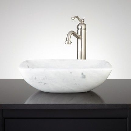 Charmant Curved Rectangle Angle Rim Carrara Marble Vessel Sink