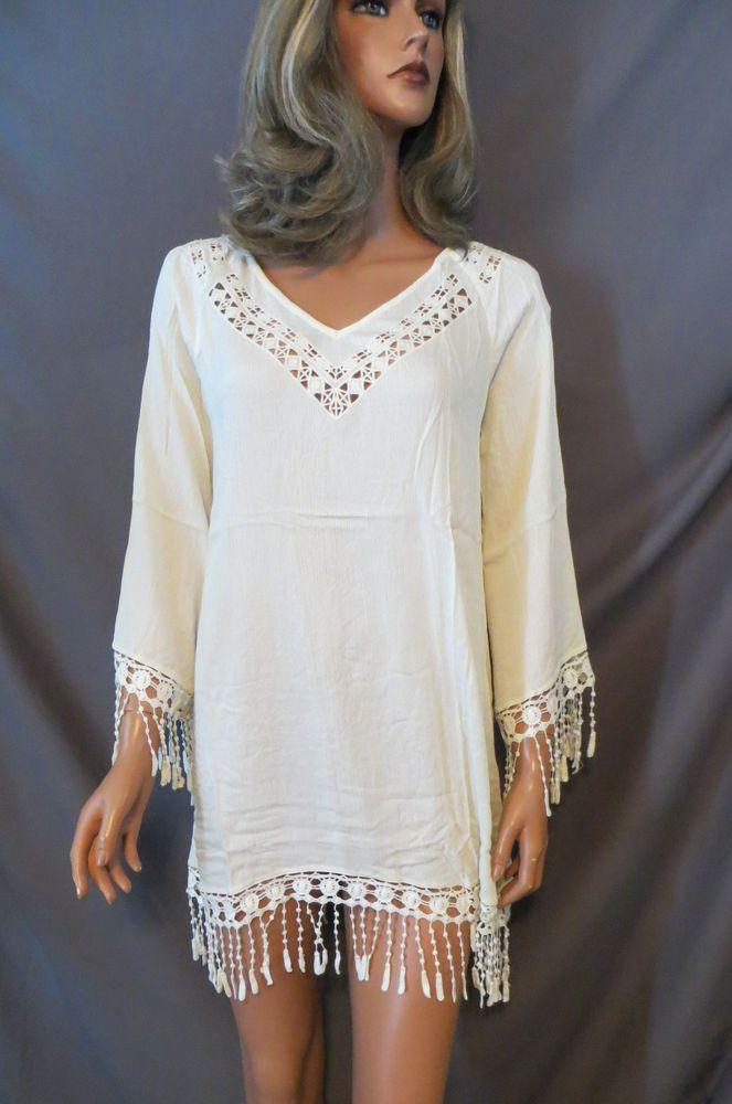 f09ef2ddcc3 COWGIRL GYPSY Cream Off White Country Crochet Fringe Dress Boho Western  MEDIUM  theclothingco  Shift