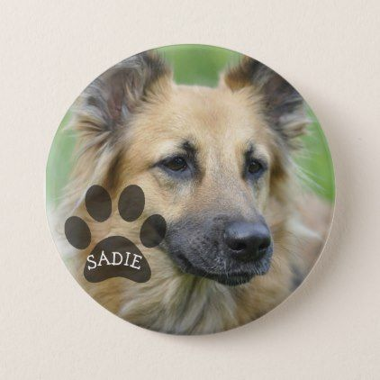 #photo - #Personalized Pet Photo Button with Paw Print
