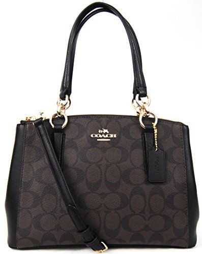 5bd3f40ebfd8 COACH Signature Mini Christie Carryall Bag Crossbody (Brown Black in ...