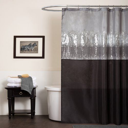 Modern Bling Shower Curtain Silver For Bath Bathroom Waterproof