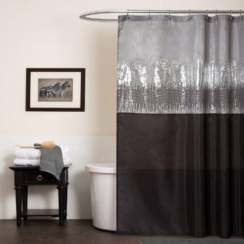 modern bling shower curtain silver for