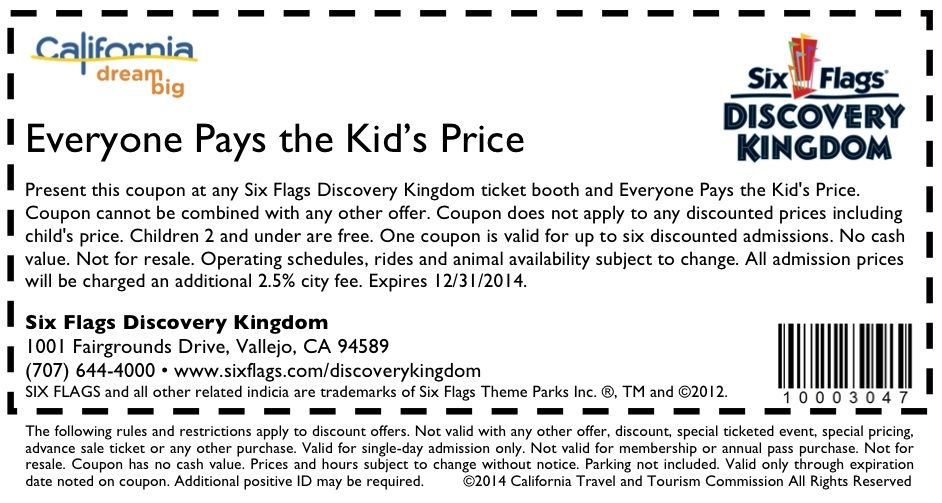 Six Flags Discovery Kingdom Coupon Http Www Visitcalifornia Com Fun Spots Six Flags Discovery Kingdom Six Flags Printable Online Coupons Coupons