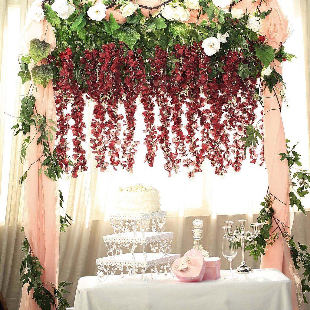 5 Bushes 44 Artificial Wisteria Vine Ratta Silk Hanging Flower Garland Burgundy In 2020 Garland Wedding Decor Garland Wedding Wedding Flower Arrangements