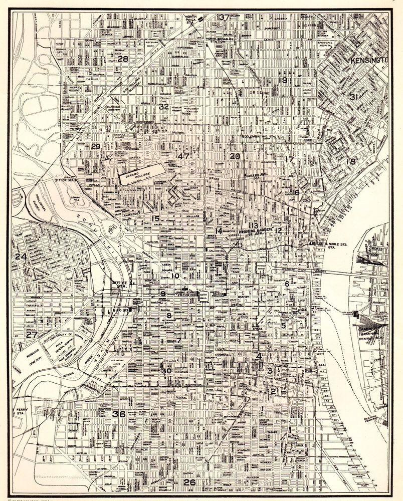 Vintage Philadelphia Map 1937 Vintage PHILADELPHIA Map City Map of Philadelphia Gallery