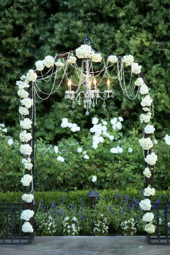 I Would Kill For A Floral Arch And The Chandelier Is Simply Perfect