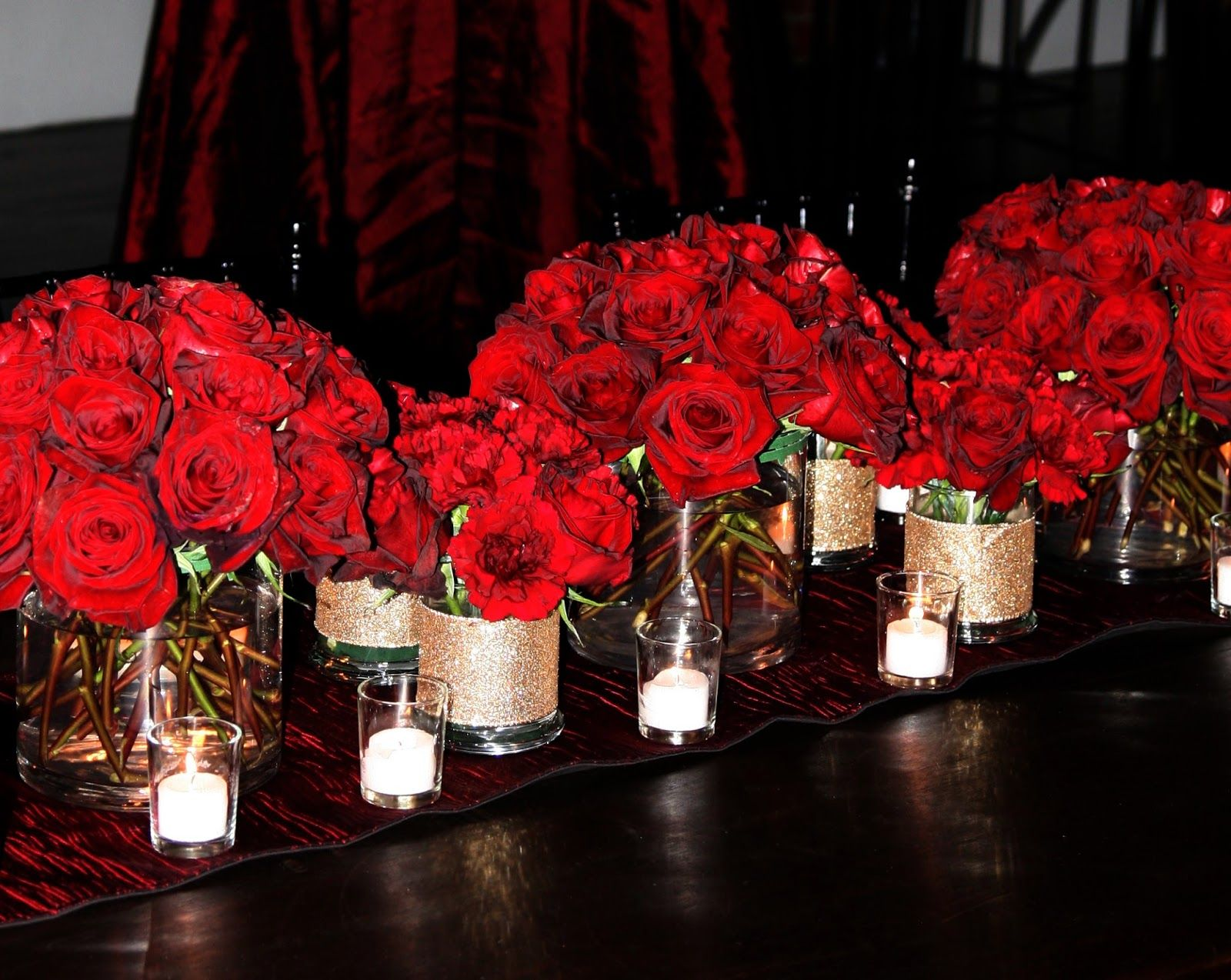 Tall red rose wedding centerpieces bold