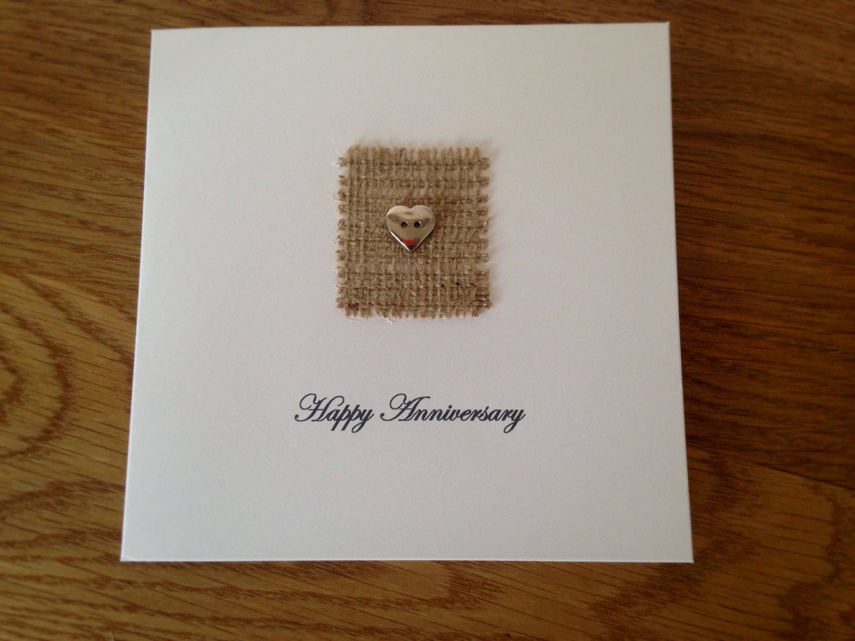 Wedding anniversary card button art design handmade cards for