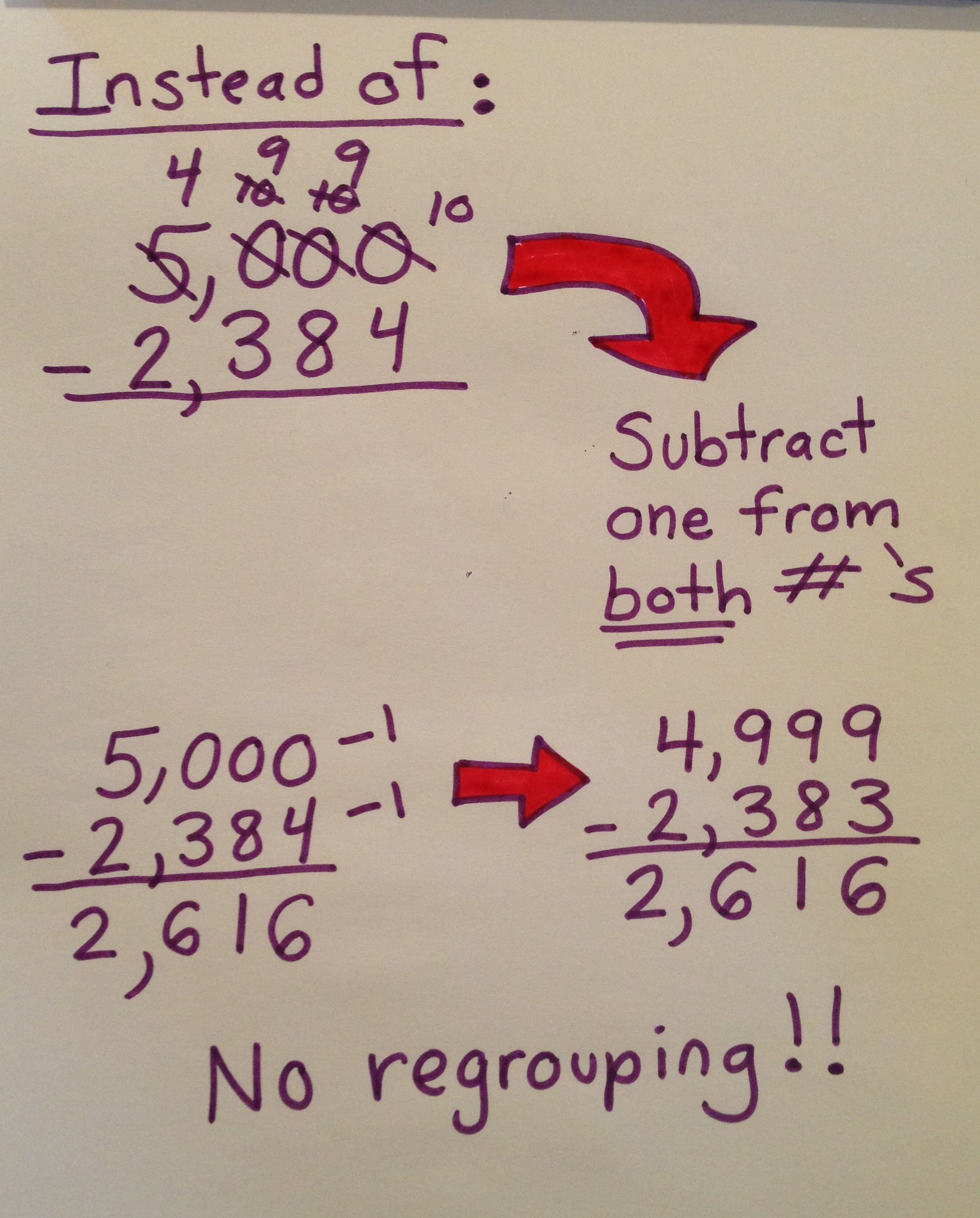 Easy Way To Subtract Across Zeros Without Regrouping