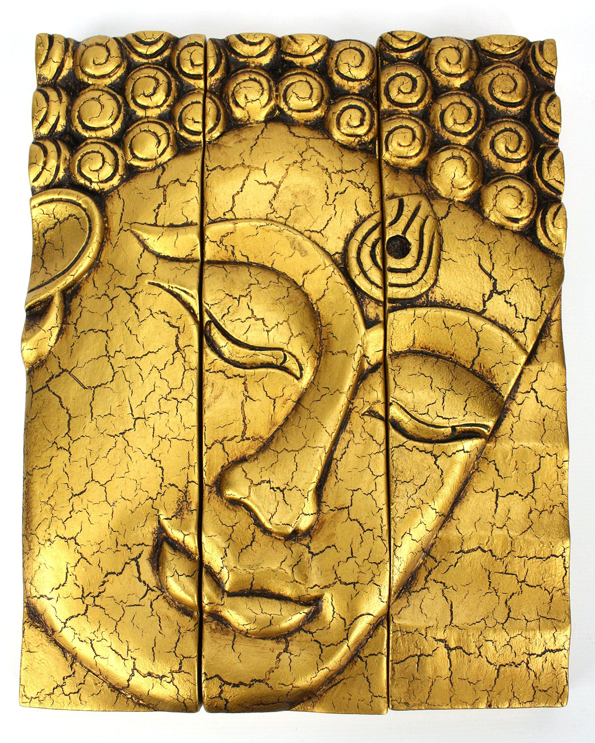 3-part Thai Buddha face panel - cracked Gold finish, carved wood ...