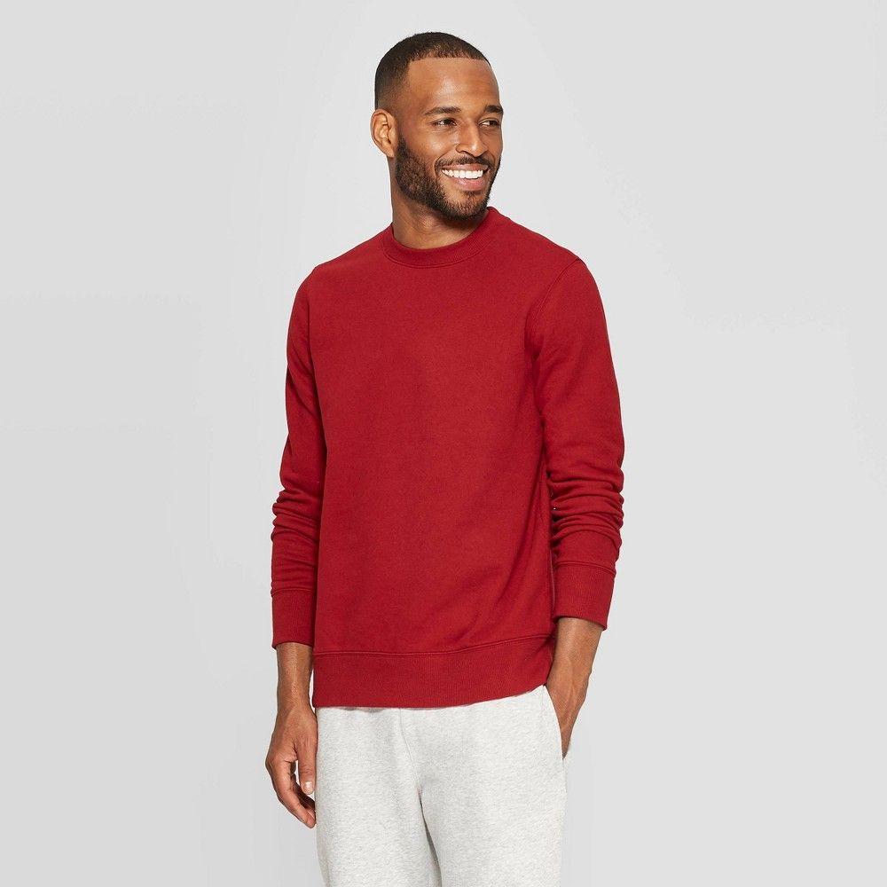 Men S Standard Fit Ultra Soft Fleece Crew Neck Sweatshirt Goodfellow Co Red M In 2021 Crew Neck Sweatshirt Long Sleeve Tshirt Men Simple Sweatshirt [ 1000 x 1000 Pixel ]
