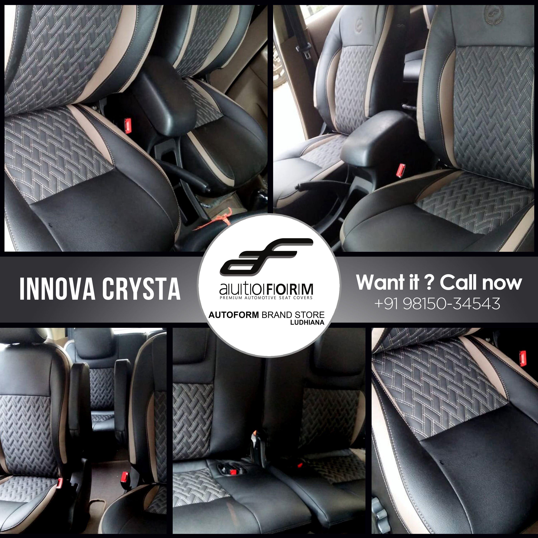 Toyota Innova Crysta 7 Seater Has Stunningly Crafted Its Interior With Unitedautoldh In Black T Grey Coloured Combination O Toyota Innova Car Seats Ludhiana