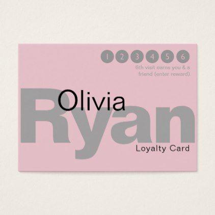 gray pink very minimal typography loyalty business card minimal