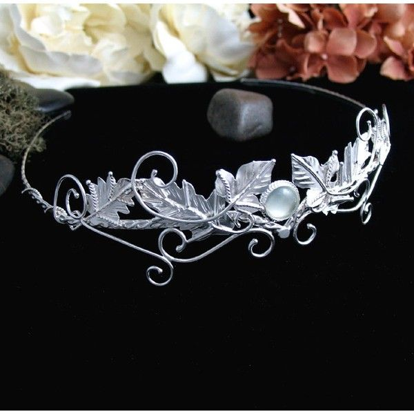 Celtic Faery Leaves Wedding Circlet Headpiece, Bridal Accessory,... ❤ liked on Polyvore featuring accessories, hair accessories, sterling silver hair accessories, leaf hair accessories, bridal hair accessories, bride hair accessories and celtic hair accessories