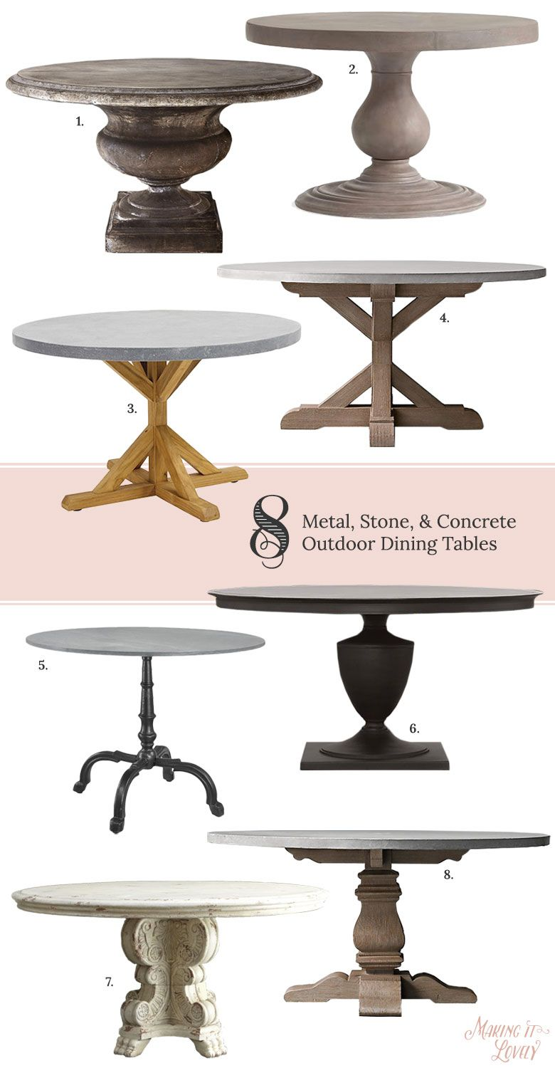 Round SolidTopped Metal Stone And Concrete Outdoor Pedestal - Concrete pedestal dining table