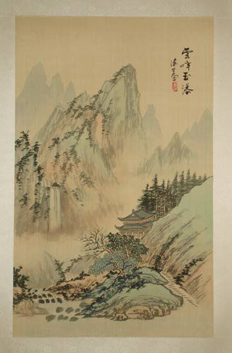 Original Chinese Watercolor On Silk Vintage Landscape Painting