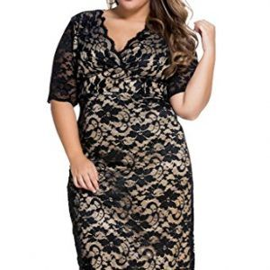 ZKESS Womens V-Neck Half Sleeve Lace Cocktail Dress Plus Size