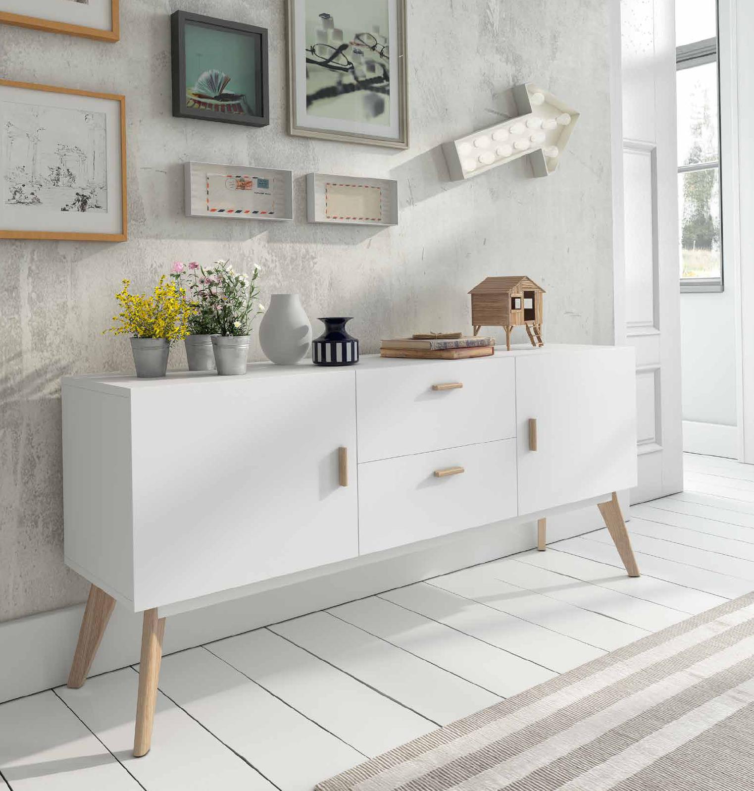 Bonito Aparador De Estilo N Rdico Vintage Acabado En Blanco  # Muebles Cultivados