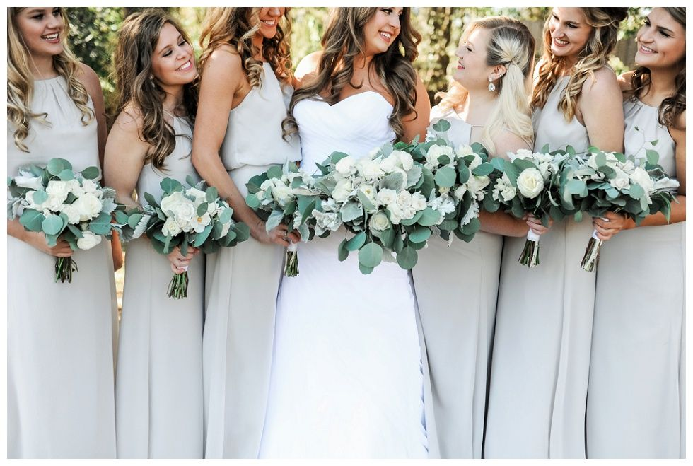 Pale Grey Bridesmaid Dresses All White Wedding Flowers Garden Roses Lambs Ear Dusty Miller Silver Dollar Eucalyptus Simply Bliss Photography Best